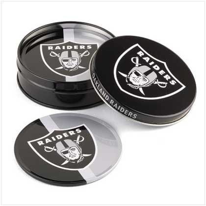 Oakland Raiders Tin Coaster Set