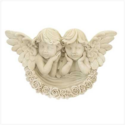 Polystone Cherubs Wall Plaque