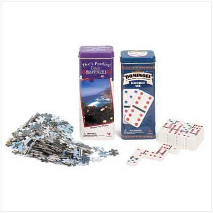 Dominoes and Jigsaw Puzzle In Tins
