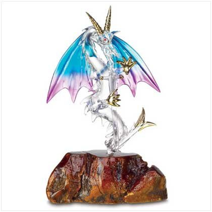 Glass Dragon On Wooden Base