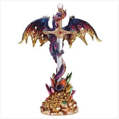 Multicolored Metallic Dragon And Sword