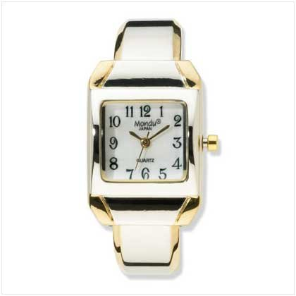 Two-Tone Cuff Bracelet Watch