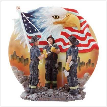 Firemen Raising Flag Plate