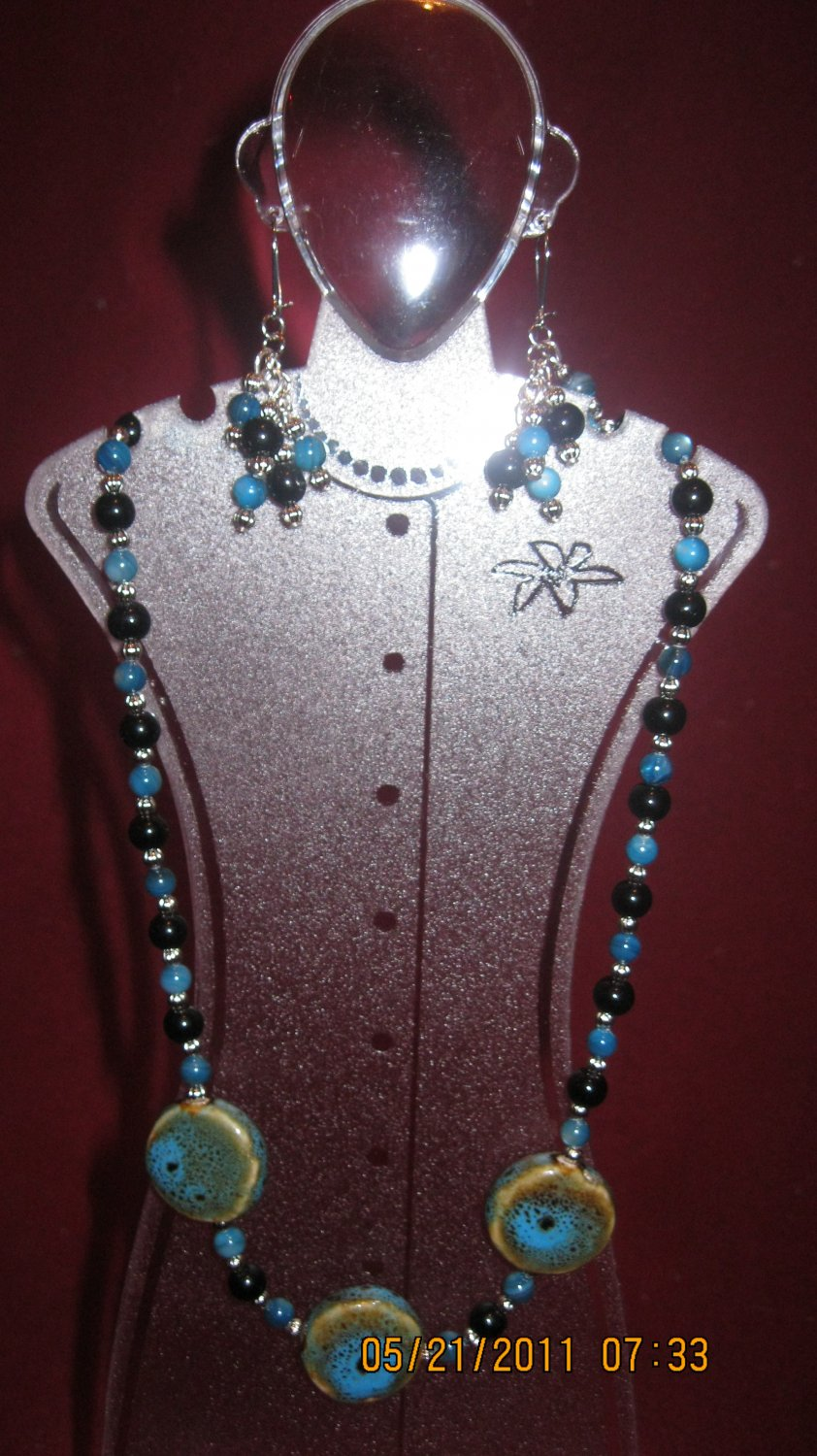 Blue and Brown Porcelain Beaded Necklace and Earrings Set