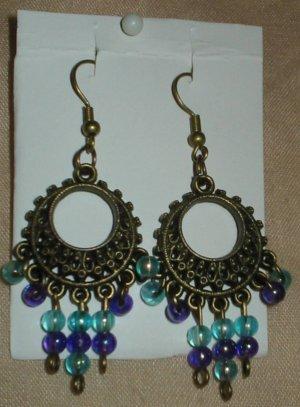 Bronze, Purple and Blue Earrings
