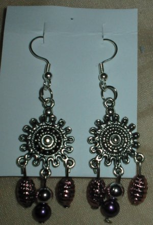 Silver and purple drop earrings