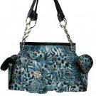 Blue Tiger/Leopard Floral Handbag