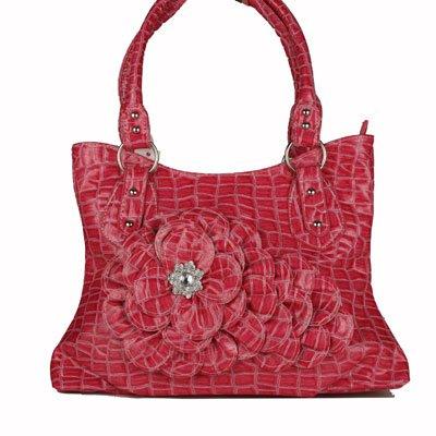 Red CROC Large FLOWER Handbag
