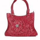 Red CROC Large FLOWER Handbag