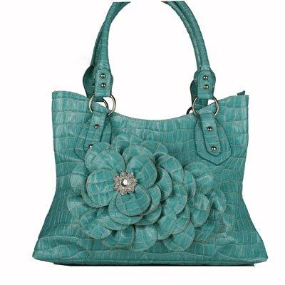Turquoise CROC Large FLOWER Handbag
