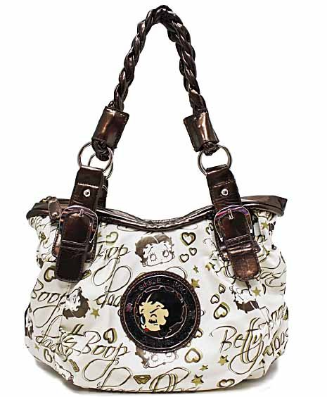 Betty Boop print on simulated leather fashion tote w/ Wallet