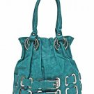 Simulated  leather double belted tote