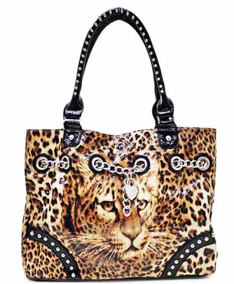 Leopard print on simulated leather tote