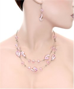 PINK DOUBLE LINE WIRED MURANO GLASS FASHION NECKLACE SET FSN1314PK
