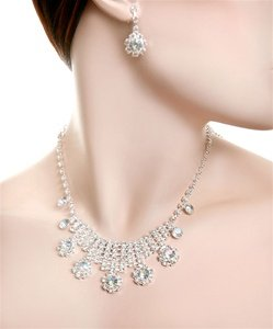 RHINESTONE CLEAR FASHION NECKLACE SET (6SETS)  J004010