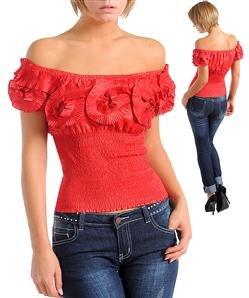 Off shoulder floral ring shirt (M02240)
