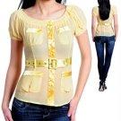 Fashion blouse w/ waist belt (cn014120)