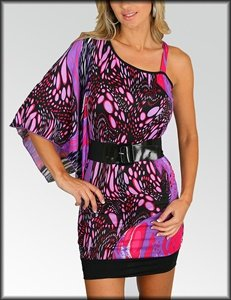 Print Wing Sleeve Dress    ( 0852644)