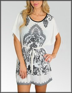 Empire Floral Kimono Dress (  2222)