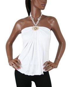 Fashion blouse with necklace design attachment (TAM-013)