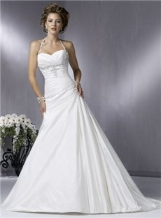 Elegant Taffeta A-Line Embroidery Halter Wedding Dresses  (00202435)