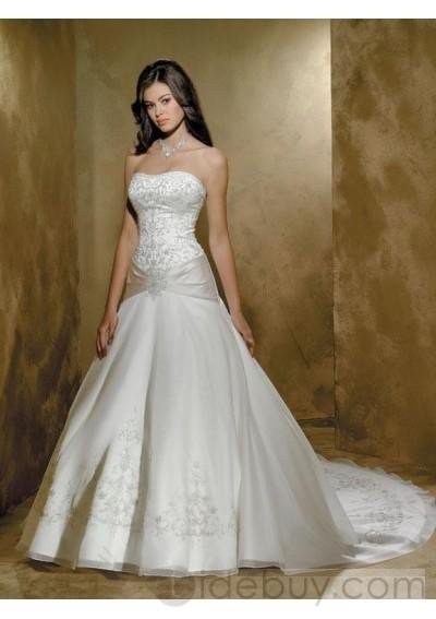 strapless Sleeveless Embroidery Organza Floor-length Chapel Train New Wedding Dress { 00208497}