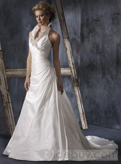 Matte Halter Wedding Dresses Chapel Train V Neck (00202416)