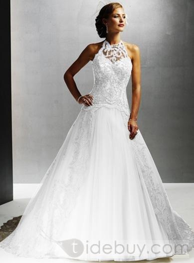 high neck Sleeveless Organza Floor-Length Color Weddding Dresses (00204669)
