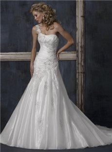 One Shoulder Sleeveless Embroidery Wedding Dresses (00200324)