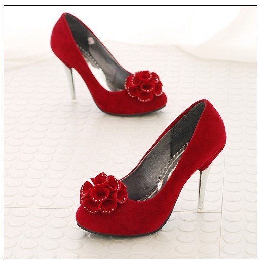 Flowers Embellished High Heels Pumps Red sz 4.5-7 (CD11052902-2)