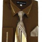 Mens Brown Dress Shirt ( SG35-BR)