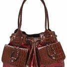 Patent fashion red/brown satchel