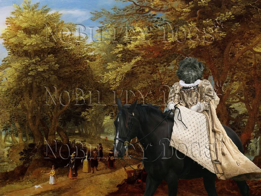 Affenpinscher Fine Art Canvas Print - Walking on the road through the old trees