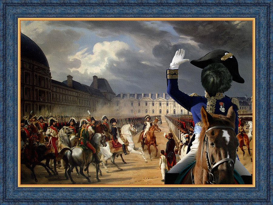 Affenpinscher Fine Art Canvas Print - Napoleon at the Parade in the Court of the Tuileries Palace