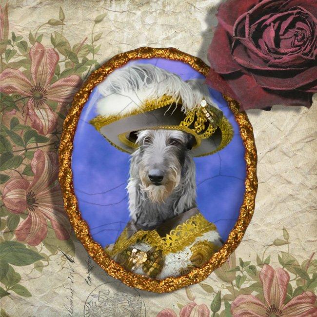 Scottish Deerhound Jewelry Brooch Handcrafted Ceramic - Grey Pirate