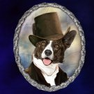 Welsh Corgi Cardigan Jewelry Brooch Handcrafted Ceramic - Gentleman