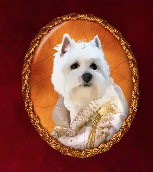 West Highland White Terrier Jewelry Brooch Handcrafted Ceramic - Queen