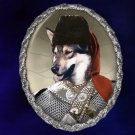 West Siberian Laika Jewelry Brooch Handcrafted Ceramic -  Warrior