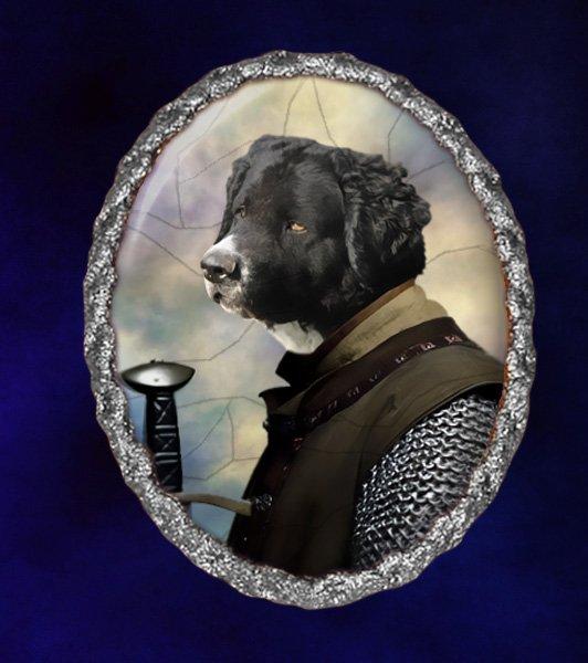 Wetterhoun Jewelry Brooch Handcrafted Ceramic -  Knight