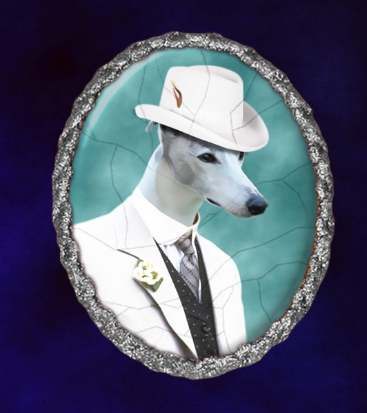 Whippet Jewelry Brooch Handcrafted Ceramic -  Gentleman with Hat
