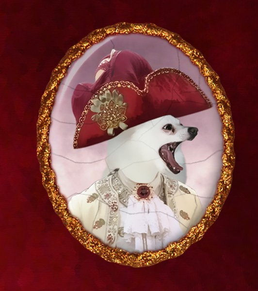 Volpino Italiano Jewelry Brooch Handcrafted Ceramic -  Duke