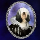 Tibetan Terrier Jewelry Brooch Handcrafted Ceramic - Flemish Lady