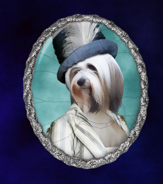 Tibetan Terrier Jewelry Brooch Handcrafted Ceramic - Lady
