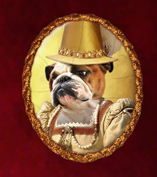 English Bulldog Jewelry Brooch Handcrafted Ceramic - Queen
