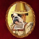 English Bulldog Jewelry Brooch Handcrafted Ceramic - Queen