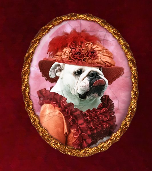 English Bulldog Jewelry Brooch Handcrafted Ceramic - Red Lady