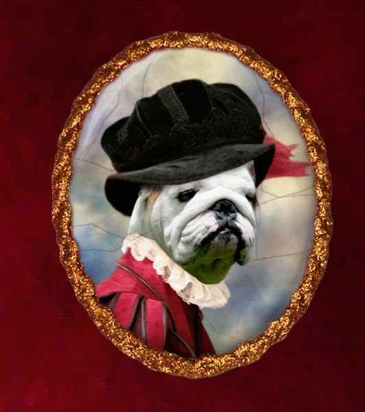 English Bulldog Jewelry Brooch Handcrafted Ceramic - Tudor Lady