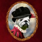 English Bulldog Jewelry Brooch Handcrafted Ceramic - Tudor Lady