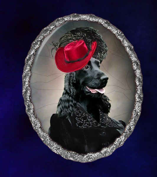 English Cocker Spaniel Jewelry Brooch Handcrafted Ceramic - Black Lady