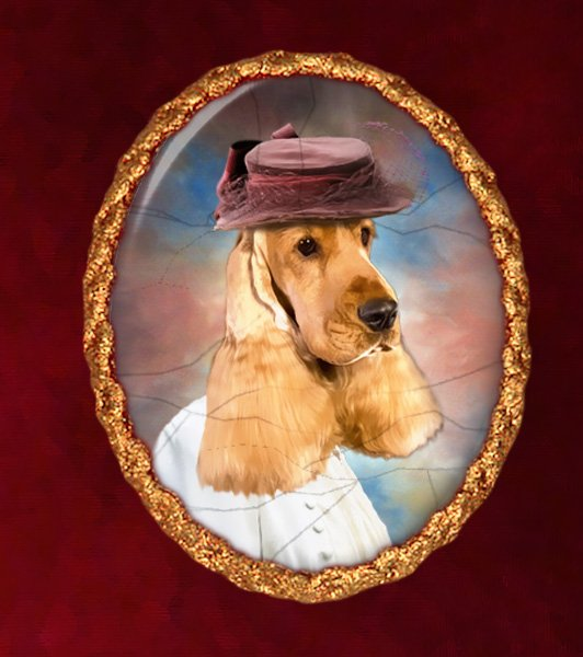 English Cocker Spaniel Jewelry Brooch Handcrafted Ceramic - Lady with Hat
